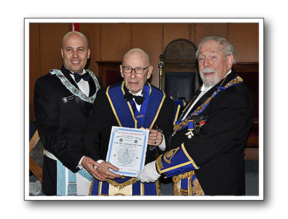 V.W. Bro. Leonard I. Levy 50 years a Past Master Certificate